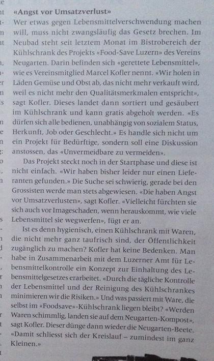 Artikel zum Thema Containern aus 041, Das Kulturmagazin.