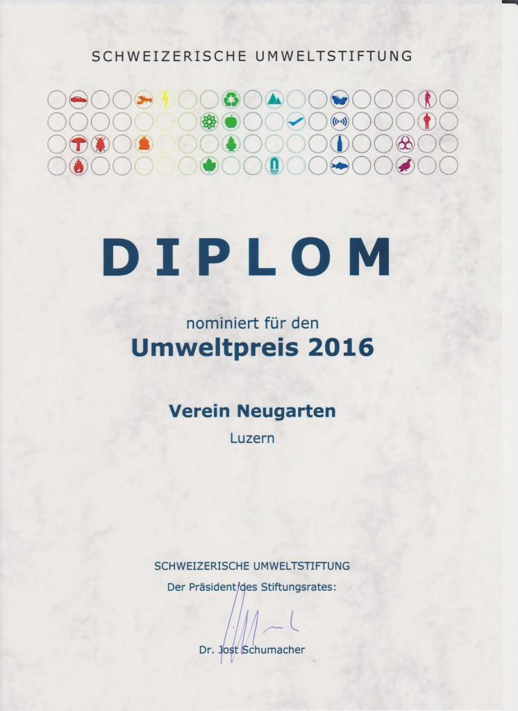 Diplom Nominierung Schweizer Umweltpreis 2016